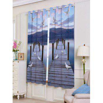 2 Panel Lake Scenic Grommet Blackout Window Curtain - BLUE GRAY BLUE GRAY