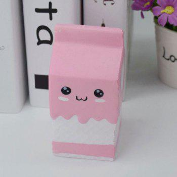 PU Stress Relief Squishy Toy Simulation Milk Box - PINK PINK