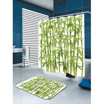 Waterproof Bamboo Print Shower Curtain - GREEN GREEN