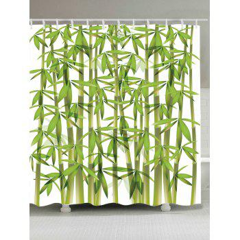 Waterproof Bamboo Print Shower Curtain - GREEN W71 INCH * L71 INCH
