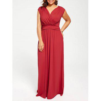 Cap Sleeve Plus Size V Neck Maxi Formal Dress