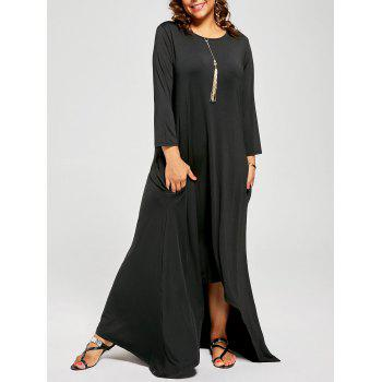 Plus Size High Low Maxi T-shirt Dress with Long Sleeves