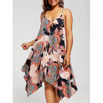 Plus Size Floral Chiffon Asymmetric Sundress