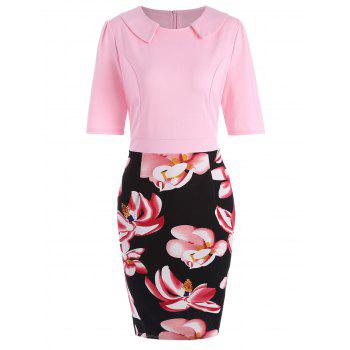 Fitted Floral Knee Length Plus Size Dress