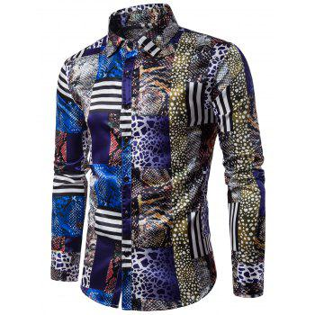3D Snakeskin Pattern Print Panel Long Sleeve Shirt