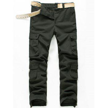Zipper Fly Button Pockets Straight Cargo Pants