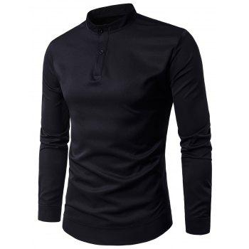 Stand Collar Pullover Long Sleeve Shirt