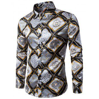 3D Rudder String Geometric Print Long Sleeve Shirt