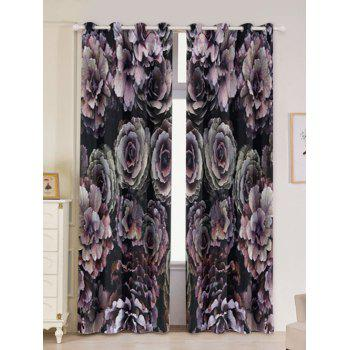 2PCs Floral Printed Blackout Window Curtains - COLORFUL W53 INCH * L96.5 INCH