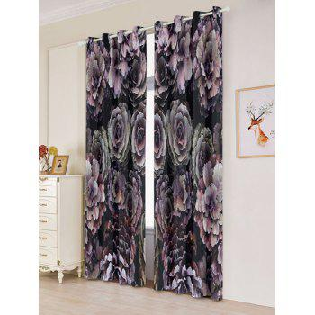 2PCs Floral Printed Blackout Window Curtains - W53 INCH * L96.5 INCH W53 INCH * L96.5 INCH