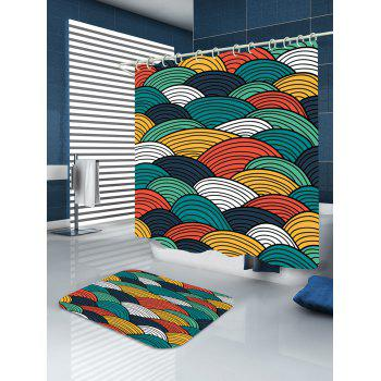 Striped Sector Printed Waterproof Shower Curtain - W71 INCH * L79 INCH W71 INCH * L79 INCH