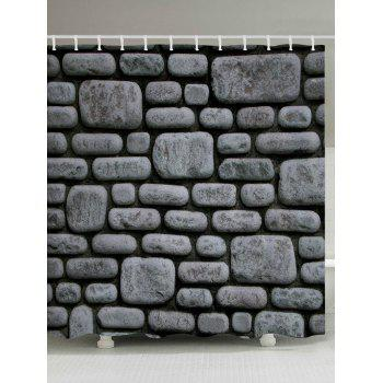 Stone Brick Wall Pattern Fabric Bathroom Shower Curtain - DEEP GRAY DEEP GRAY