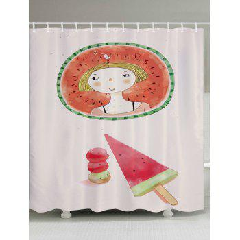Watermelon Girl Pattern Fabric Bathroom Shower Curtain - COLORMIX COLORMIX