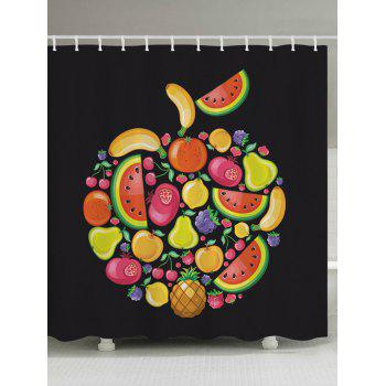 Cartoon Fruits Pattern Fabric Bathroom Shower Curtain - BLACK BLACK