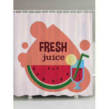 Watermelon Juice Pattern Fabric Bathroom Shower Curtain - COLORMIX W59 INCH * L71 INCH