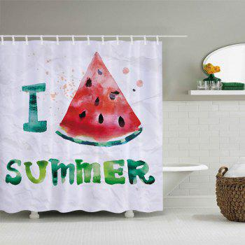 Watermelon Summer Pattern Fabric Bathroom Shower Curtain - WHITE WHITE
