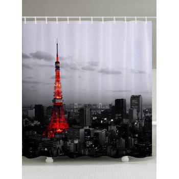 Effiel Tower Print Fabric Bathroom Shower Curtain - COLORMIX W59 INCH * L71 INCH