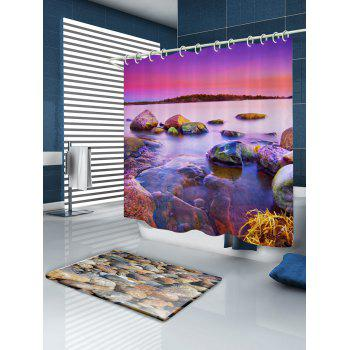 Sunset Scenery Pattern Fabric Bathroom Shower Curtain - COLORMIX W71 INCH * L79 INCH