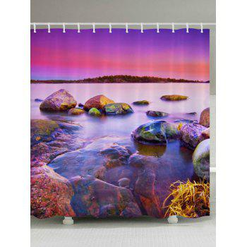 Sunset Scenery Pattern Fabric Bathroom Shower Curtain - COLORMIX W71 INCH * L71 INCH