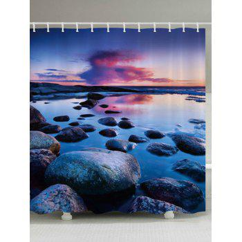 Sunset Stone Pattern Fabric Bathroom Shower Curtain - COLORMIX W71 INCH * L79 INCH