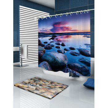Sunset Stone Pattern Fabric Bathroom Shower Curtain - W71 INCH * L79 INCH W71 INCH * L79 INCH