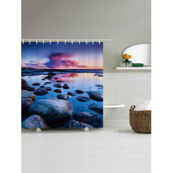 Sunset Stone Pattern Fabric Bathroom Shower Curtain - W71 INCH * L71 INCH W71 INCH * L71 INCH
