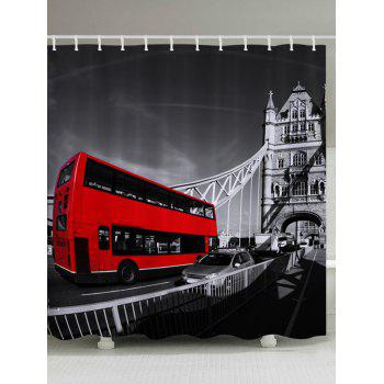 Vintage Bus Pattern Fabric Bathroom Shower Curtain - COLORMIX W71 INCH * L79 INCH