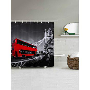 Vintage Bus Pattern Fabric Bathroom Shower Curtain - COLORMIX W59 INCH * L71 INCH