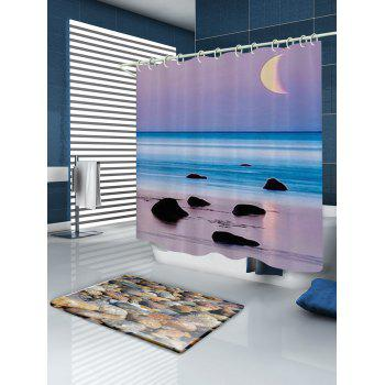 Beach Sea Sunset Print Fabric Bathroom Shower Curtain - W59 INCH * L71 INCH W59 INCH * L71 INCH