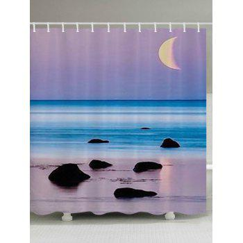 Beach Sea Sunset Print Fabric Bathroom Shower Curtain - COLORMIX W59 INCH * L71 INCH