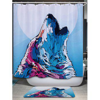 Wolf Howl Print Fabric Bathroom Shower Curtain - COLORMIX W71 INCH * L79 INCH