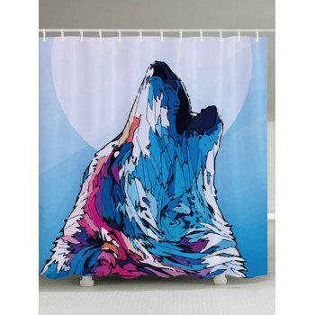 Wolf Howl Print Fabric Bathroom Shower Curtain - COLORMIX W59 INCH * L71 INCH