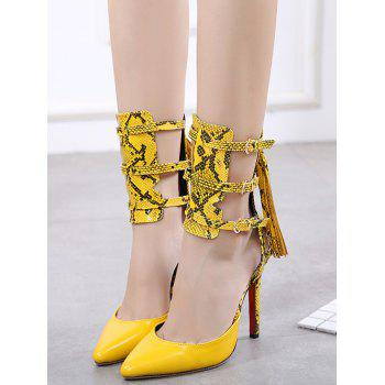 Buckle Straps Snake Print Pumps - YELLOW 37