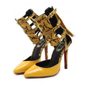 Buckle Straps Snake Print Pumps - YELLOW 40