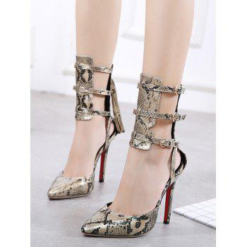 Buckle Straps Snake Print Pumps - GOLDEN 37