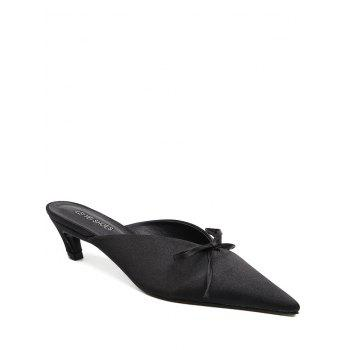 Bow Satin Pointed Toe Slippers - BLACK 38