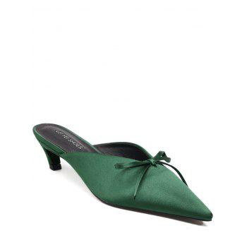 Bow Satin Pointed Toe Slippers - GREEN 39