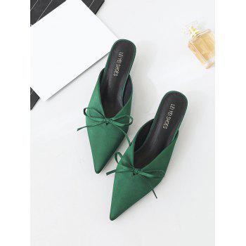 Bow Satin Pointed Toe Slippers - 39 39