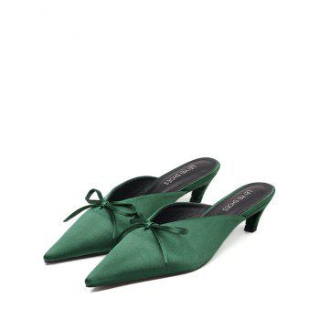 Bow Satin Pointed Toe Slippers - GREEN 37