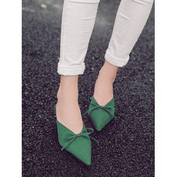 Bow Satin Pointed Toe Slippers - 38 38