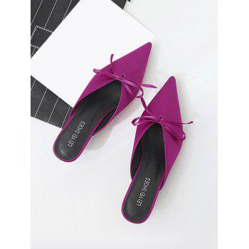 Bow Satin Pointed Toe Slippers - ROSE RED 37