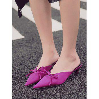Bow Satin Pointed Toe Slippers - ROSE RED ROSE RED
