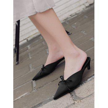 Bow Satin Pointed Toe Slippers - 37 37