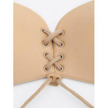 Strapless Lace-Up Adhesive Free Bra - SKIN COLOR CUP C