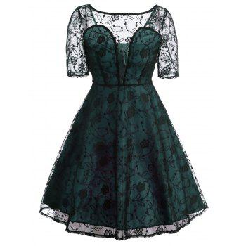 Vintage See Thru Lace Fit and Flare Dress