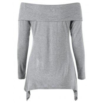 Long Sleeve Cross Front Off Shoulder T-Shirt - LIGHT GREY 2XL