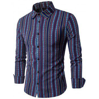 Ethnic Vertical Stripe Elbow Patch Long Sleeve Shirt