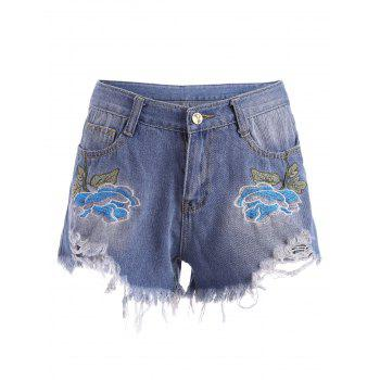 Embroidered Ripped Denim Mini Shorts