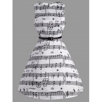 Music Note Print Swing Party Dress