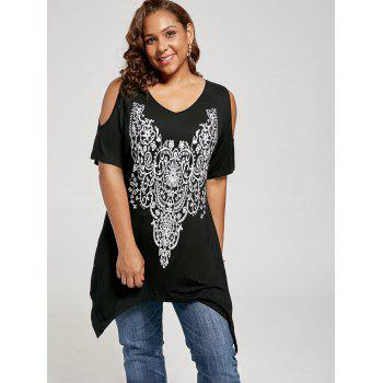 Plus Size Graphic Cold Shoulder Tunic Top - BLACK 3XL